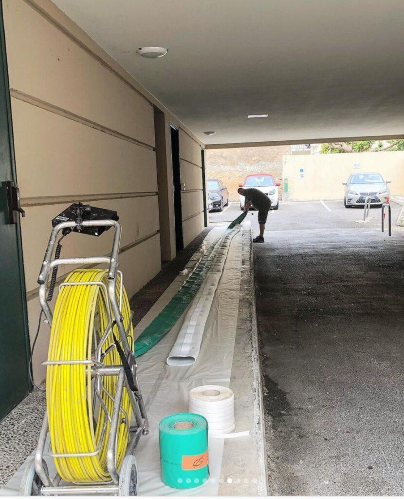 Préparation de la gaine pour chemisage de canalisation d'eaux usées